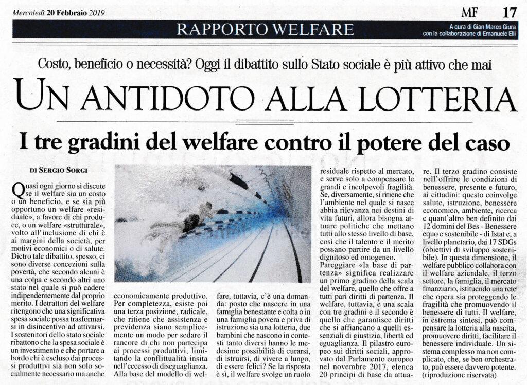 Articolo - WELFARE e REDDITI MINIMI - Un Antidoto alla lotteria